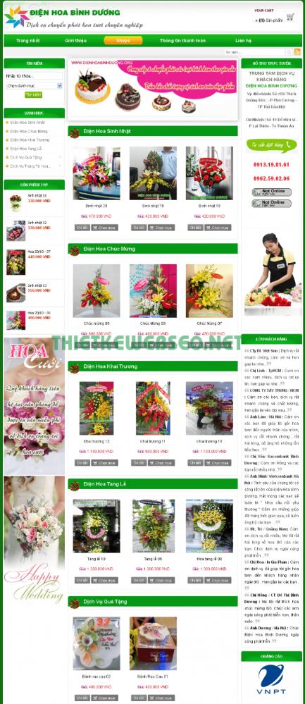 Thiết kế web điện hoa giá rẻ