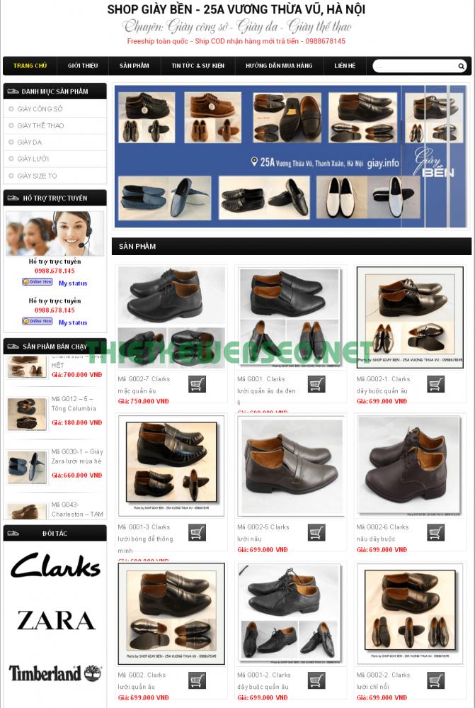 Thiết kế web bán giày