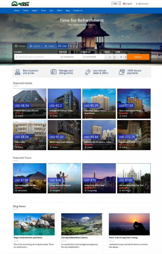 Thiết kế web đặt tour du lịch, đặt phòng khách sạn